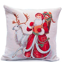 Наволочка Emilia Arredamento Дед Мороз и белый олень 45х45см, фото