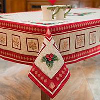 Скатерть с люрексом Emilia Arredamento Золотые снежинки 140х220см, фото