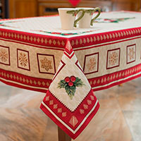 Скатерть с люрексом Emilia Arredamento Золотые снежинки 140х260см, фото