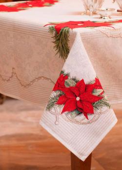 Скатерть с люрексом Emilia Arredamento Рождественский ноктюрн 140х140см, фото
