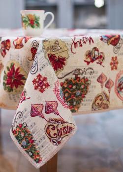 Скатерть гобеленовая Villa Grazia Новогоднее настроение 140х140см, фото