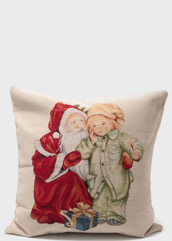 Декоративная наволочка Emilia Arredamento Встреча с Дедом Морозом 45x45см, фото