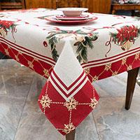 Скатерть Villa Grazia Premium Рождественские колокольчики 140х220см, фото