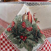Скатерть Villa Grazia Premium Рождественские свечи 140х140см, фото