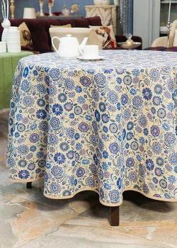 Скатерть Villa Grazia Голубые узоры 160см с цветочным рисунком, фото