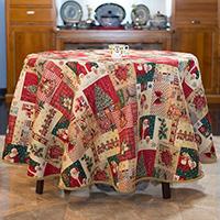 Круглая скатерть Villa Grazia Новогодние колокольчики диаметр 160см, фото