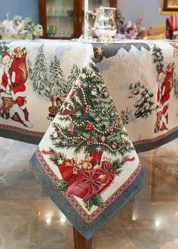 Скатерть из гобелена Villa Grazia Рождественский сюрприз с тефлоновой пропиткой 140х260см, фото