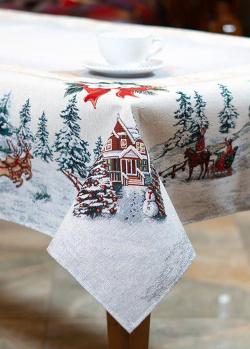 Гобеленовая скатерть Villa Grazia Снежные забавы 140х140см, фото