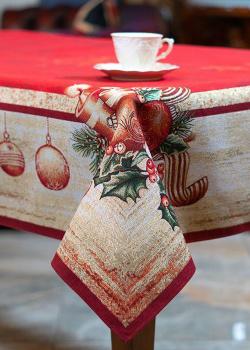 Гобеленовая скатерть Villa Grazia Рождественские звезды с люрексом 140х240см, фото