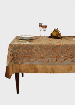 Золотистая скатерть Royal Family в стиле барокко 260х160см, фото