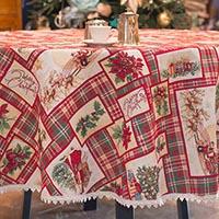 Праздничная скатерть Emilia Arredamento для круглого стола Счастливого Рождества Диаметр 200см, фото