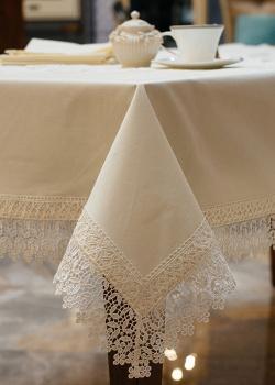 Бежевый комплект столового текстиля Bic Ricami с кружевом, фото