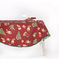 Круглая скатерть Villa Grazia Атрибуты Рождества диаметр 220см, фото