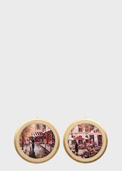 Набор из 2-х круглых картин Decor Toscana 62см с изображением улиц Парижа, фото