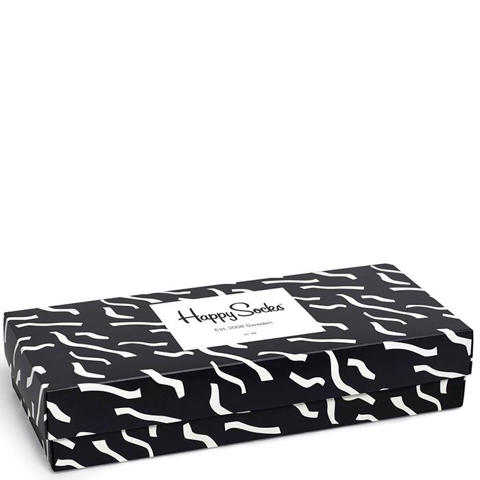 Набор носков Happy Socks Black White Gift Box Ретро