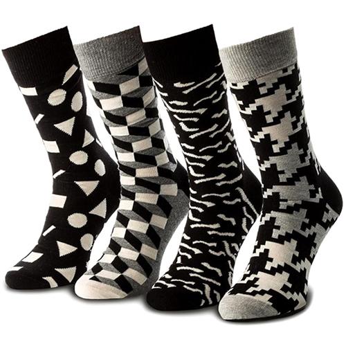Набор носков Happy Socks Black White Gift Box Ретро, фото