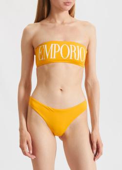 Желтый купальник Emporio Armani с лифом-бандо, фото