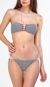 Полосатый купальник EA7 Emporio Armani с декором-шнуровкой, фото