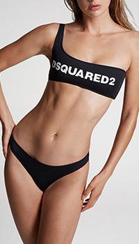 Черный купальник Dsquared2 на одно плечо, фото