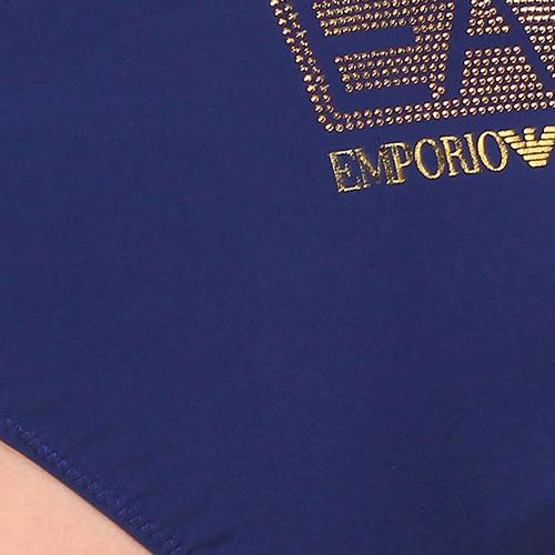 Однотонный купальник Ea7 Emporio Armani темно-синего цвета, фото