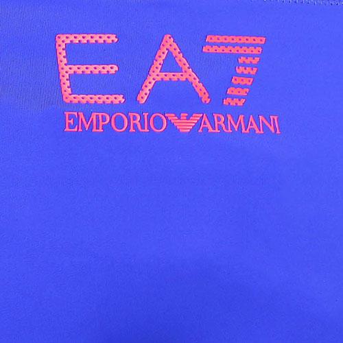 Купальник Ea7 Emporio Armani синего цвета с красными шлейками, фото