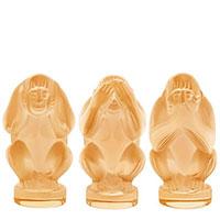 Комплект из трех фигурок Lalique обезьян Мудрость, фото