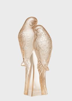 Хрустальная фигурка Lalique Parakeets Неразлучники с позолотой, фото