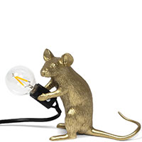 Настольный светильник Seletti Mouse Lamp Mac-Gold, фото