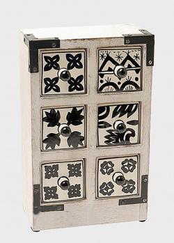 Белый комодик Gall and Zick на 6 ящичков с черно-белой росписью, фото