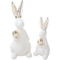 Статуэтки пара кроликов HOFF Interieur Golden shine, фото