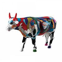 Коллекционная статуэтка коровы Cow Parade Ziv's Udderly Cool Cow с ярким рисунком, фото