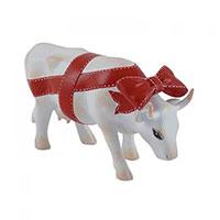Коллекционная статуэтка коровы Cow Parade Present белого цвета с красным бантом, фото