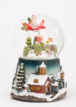 Музыкальный снежный шар G.Wurm с движущимся самолетом, фото