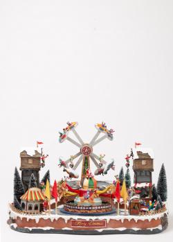 Новогодний декор Timstor Деревня с летящим самолетом, фото