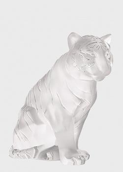 Статуэтка Lalique Sitting Tiger из прозрачного хрусталя, фото