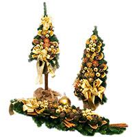 Декорированная елка Villa Grazia с золотистым декором, фото