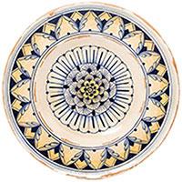 Круглая настенная тарелка L'Antica Deruta Geometric с орнаментом, фото