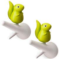 Набор крючков настенных Qualy Hook Squirrel белый с зеленым, фото