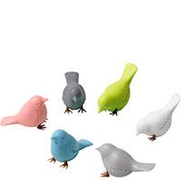 Магниты Qualy Mini Sparrow в виде воробьев разных цветов, фото