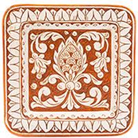 Настенная тарелка L'Antica Deruta Scalfito квадратной формы, фото