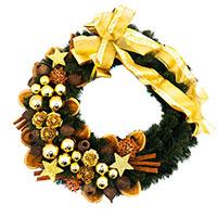 Рождественский венок Villa Grazia с золотистым декором, фото