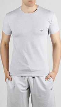Серая футболка Emporio Armani с логотипом на спине, фото