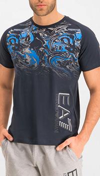 Синяя футболка Ea7 Emporio Armani с абстрактным принтом, фото
