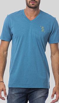 Голубая футболка Billionaire с вышивкой-лого, фото
