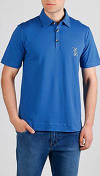 Синяя футболка-поло Billionaire с лого-вышивкой, фото