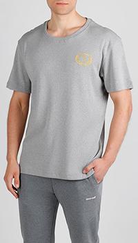 Светло-серая футболка Billionaire с золотистым лого, фото