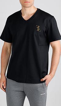 Черная футболка Billionaire с вышивкой-лого, фото