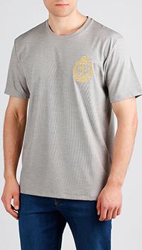 Шелковая футболка Billionaire серого цвета, фото