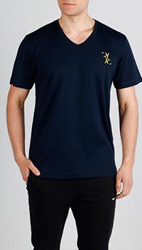 Темно-синяя футболка Billionaire с вышивкой-лого, фото