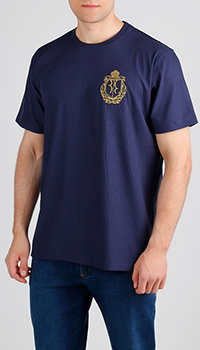 Синяя футболка Billionaire с крупным лого, фото